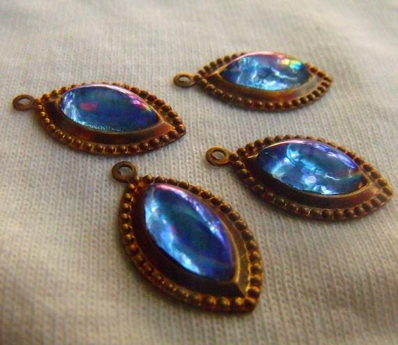 Sapphire AB 10x5mm Vintage Glass Navette Drop 1 Loop 4