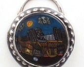 Handmade Lampwork New Orleans at Night Murrine Sterling Silver Pendant