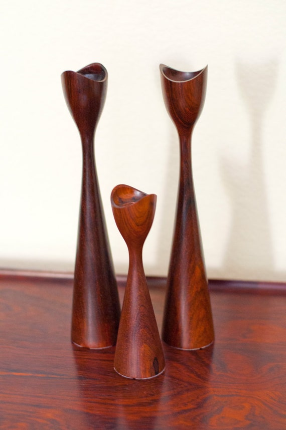 Mid Century Danish Rosewood Candle Holder Trio