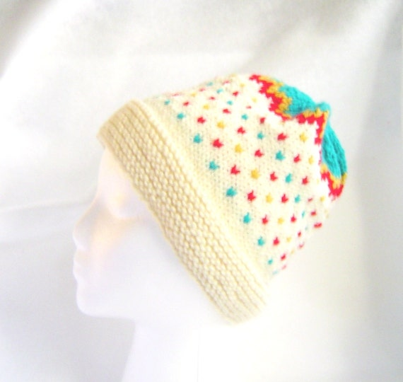 Teal red and gold on white hand knit hat ski cap skullcap toque
