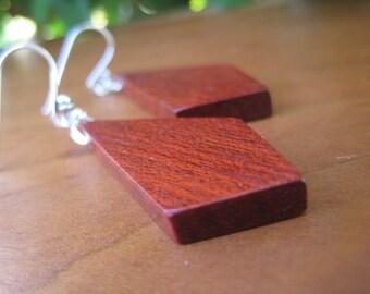 Geometric Wooden Earrings - Red Oxblood - Sterling Silver - Wood - Diamond - Bohemian Spring