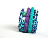 RESERVED for ANNE - Wrap Crochet Cuff Bracelet in Turquoise Blue and Purple