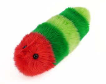 Stuffed Caterpillar Stuffed Animal Cute Plush Toy Caterpillar Kawaii Plushie Reed the Red and Green Faux Fur Snuggle Worm Small 5x14 Inches