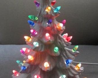 Vintage Style White Lighted Christmas Tree -11 inch - Christmas Centerpiece - Christmas Nightlight - White Ceramic Christmas tree -Gift idea