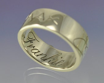 Your Kids Handwriting. Sterling Silver Ring.