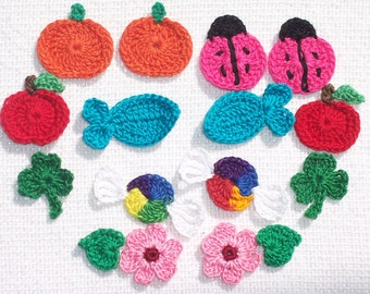 assorted handmade thread crochet appliques  --  1601