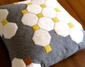 OCTAGON TILES PILLOW. ivory and marigold. made from recycled wool.