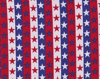 Red White And Blue, Stars And Stripes Fabric 100% Cotton, 3/4 yard (27 Inches)