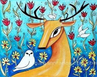 Deer Art Print, Animal Art, Whimsical Art Storybook Art, Woodland Folk Art, Watercolor, 8 x 10 Mixed Media Turquoise Blue