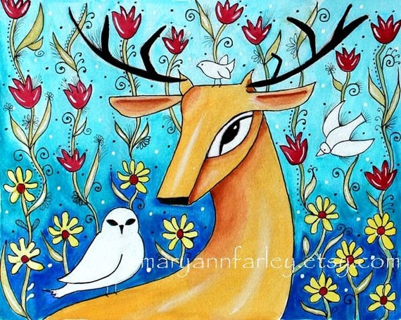 Deer Art Print, Animal Art, Whimsical Watercolor Storybook Flowers Garden Bird, Folk, 5 x 6.5 or 8x10, Illustration, Turquoise Blue Orange