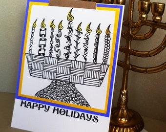 Hand Drawn   Zentangle  Style Chanukah   Menorah  Design Gift  Card Holder