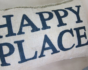 Charley Burlap Pillow - Happy Place