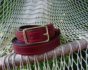 Burgandy Leather Belt Handmade from Latigo with Gold Plated Buckle