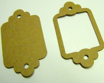 """Scallop  Label Tags Die Cut  from Kraft Chipboard  (2 x 3.5"""")  Pk of 5"""