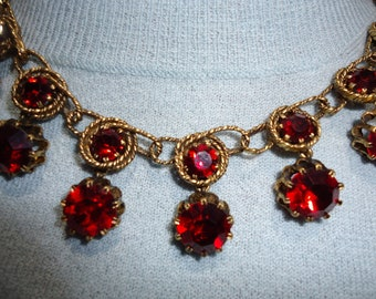 1950s Red Rhinestone Necklace and Earrings Set