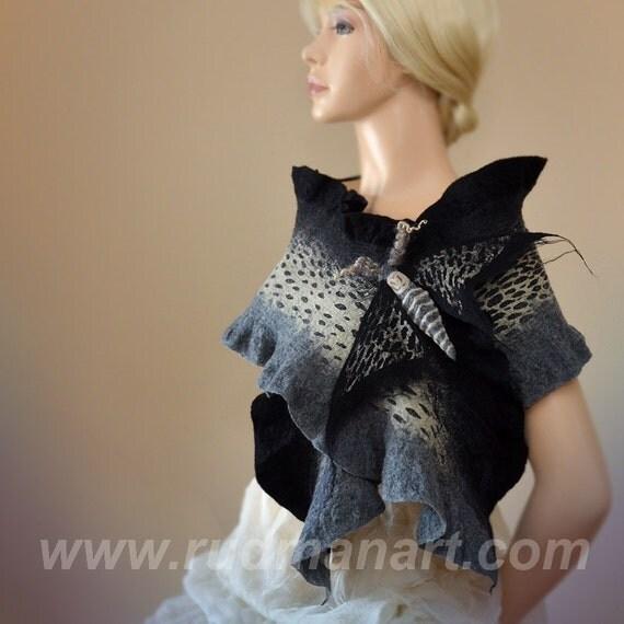 Halloween gift 20% discount Felted Scarf Wool Silk Dark Art nunofelting Black Grey Moth Night-Fly Brooch