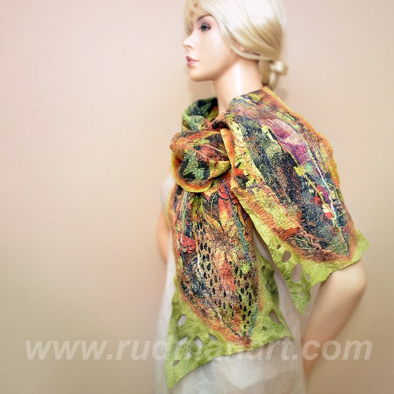 Halloween gift 20% discount Felted scarf Wrap Shawl Wool Silk Hand dyed Mustard Olive Rust