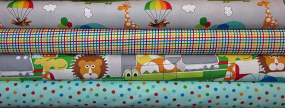 Bungle Jungle Children's Jungle Puzzle Multi  by Tim and Beck Moda Fabrics 1/2 yard each, 2 yards, FABRIC SALE