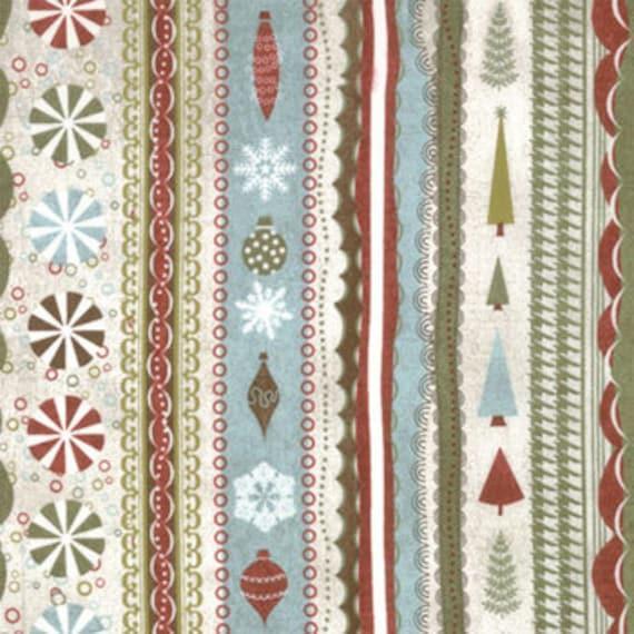 Figgy Pudding Trinket Blue Stripe by Basic Grey Moda Christmas Fabrics  22 inches