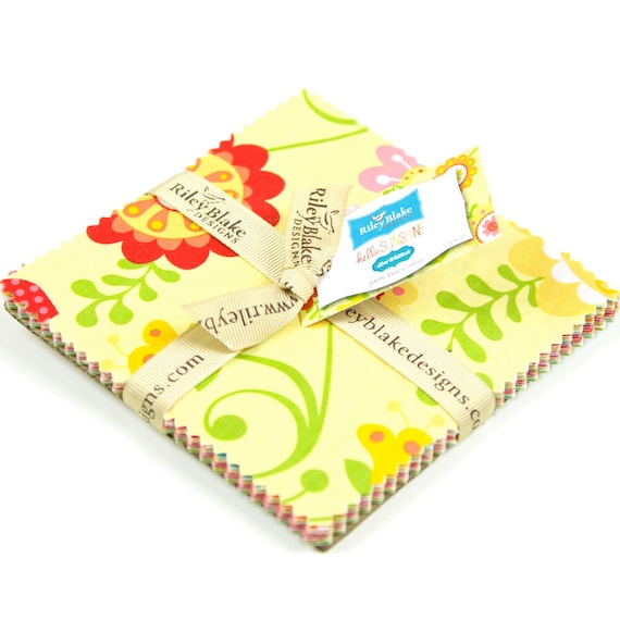 Hello Sunshine Charm Pack Stackers 5 inch Squares Riley Blake Fabrics