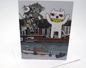 Monkey vs. Cat Greeting Card