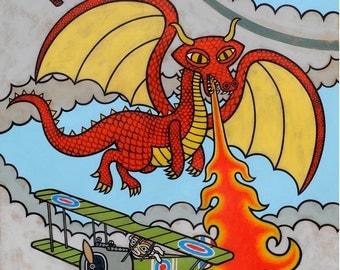 Red Baron vs. the Red Dragon Art Print