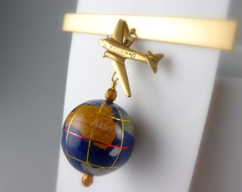 Gold Tie Clip with World Globe and Airplane with Free USA Shipping