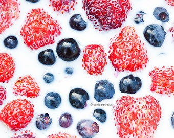 Feel the summer - 5x7 inches fine art photography print Original signed photo Strawberries, huckleberries, milk, Kitchen art
