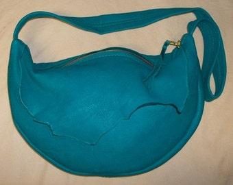 "Designer Leather Purse Ruffled Natural Edge Fringed Handbag Artisan Hippie Retro Bag ""SISTER'S BAG"" Handmade by Debbie Leather"