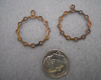 Vintage Oxidized Brass Earring  Findings