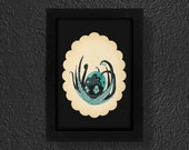 3.5 X 5 Inch HAPPY BLACK OCTOPUS Print Scalloped Black Border