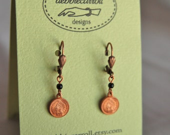 Vintage Indian Head Mini Penny Earrings part of Westwood Warrior School Spirit Jewelry Collection