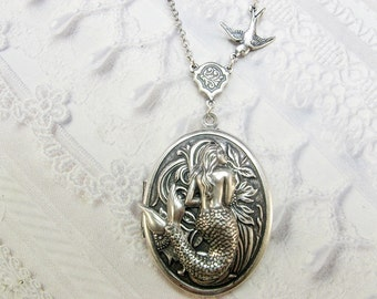 Silver Locket Necklace - The ORIGINAL MERMAID LOCKET - Jewelry by BirdzNbeez - Wedding Birthday Bridesmaids Gift