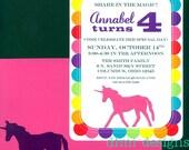 Rainbow UNICORN polka dot 5 x 7 party invitation set of 15