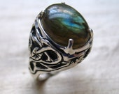 SALE-Tangled Vine Ring in Labradorite and Sterling
