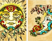 Mexican Folk Art Prints Sun Moon Loteria El SOL & LA LUNA 5 x 7, 8 x 10 or 11 x 14 Set