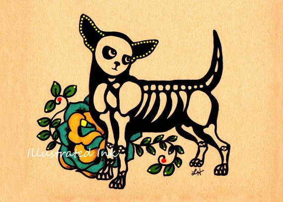 Day of the Dead Dog CHIHUAHUA Boy Male Print 8 x 10 - Donation to Austin Pets Alive