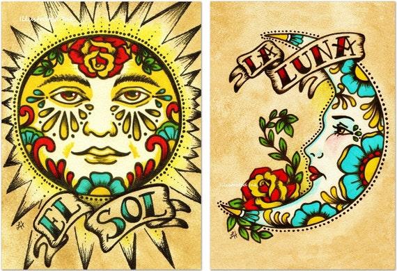 8 x 8 art prints mexican folk art prints sun moon loteria el sol la luna 5 x