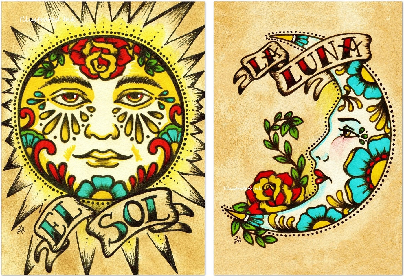 Mexican folk art prints sun moon loteria el sol la luna 5 x for Posters art prints