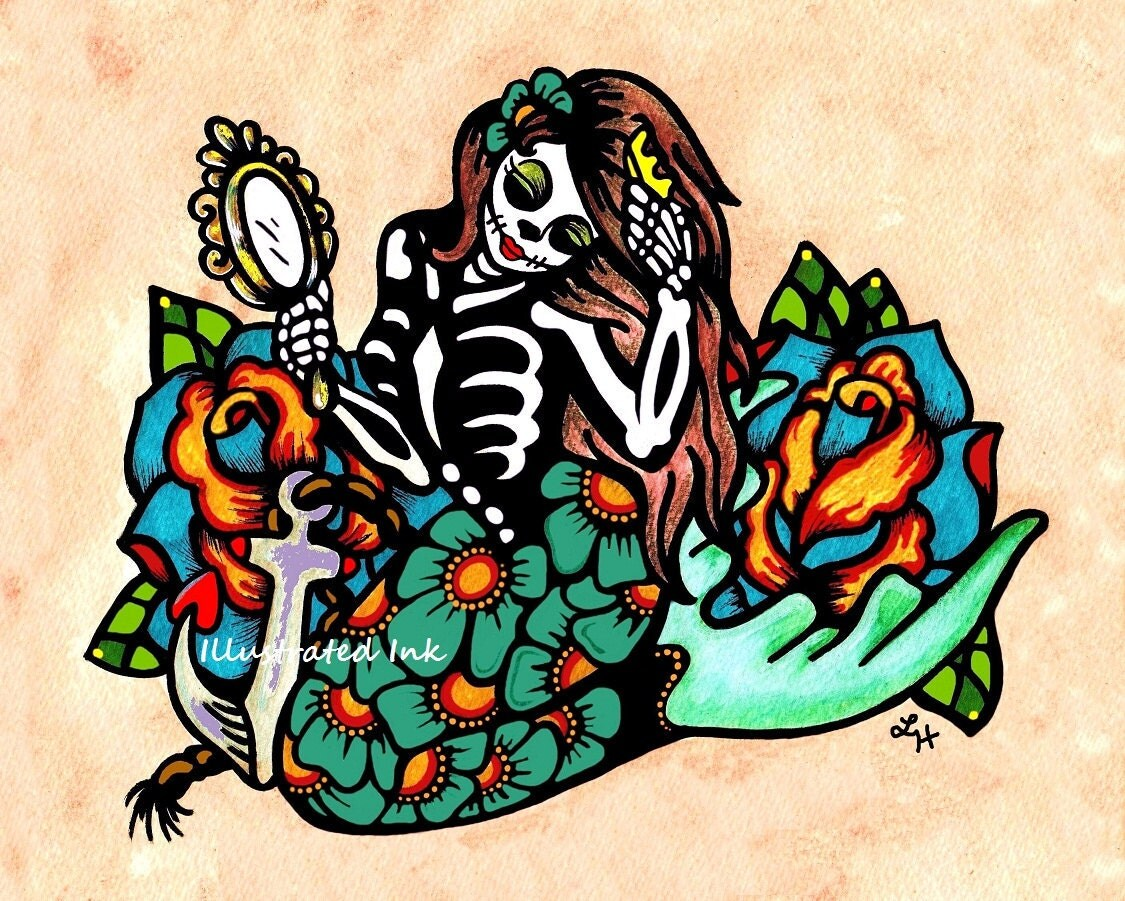 day of the dead mermaid dia de los muertos art print 5 x 7 8
