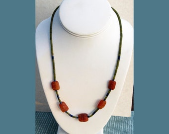 Carnelian Bead Strand with Jade, Lapis and Silver