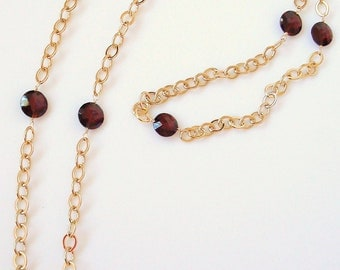 "garnet coin gemstone and gold slip-on 32"" necklace"