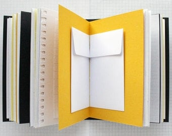 The Future Is Now - Travel Journal - 4.5 x 6 inch A6 - Mixed Paper Journal - Yellow / Grey