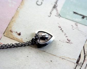 ladybug. locket necklace. in silver ox mini version