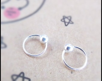 6 mm Cartilage hoop earrings, 925 Silver Captive bead ring, Tragus hoop, Helix ring, Rook Lip Nose ring, Cartilage Piercing CUSTOMIZE