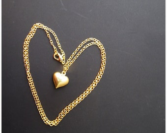 Golden Heart Necklace, heart pendant, Forever In Love Jewelry, Heart Charm Necklace, Bridesmaids Gift, Gift for her, Girl Necklace,CUSTOMIZE