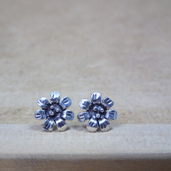 Rustic Flower Oxidized Sterling Silver Earrings 925 - Gift under 10
