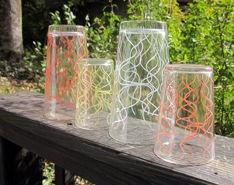 Four Vintage Beverage Glasses - Squigglies