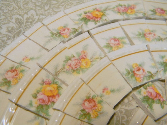 China mosaic tiles shabby chic pink yellow roses broken for Shabby chic wall tiles