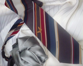 Pure Silk Leonard Paris Necktie  Made in Italy and Pure Silk Square Pocket